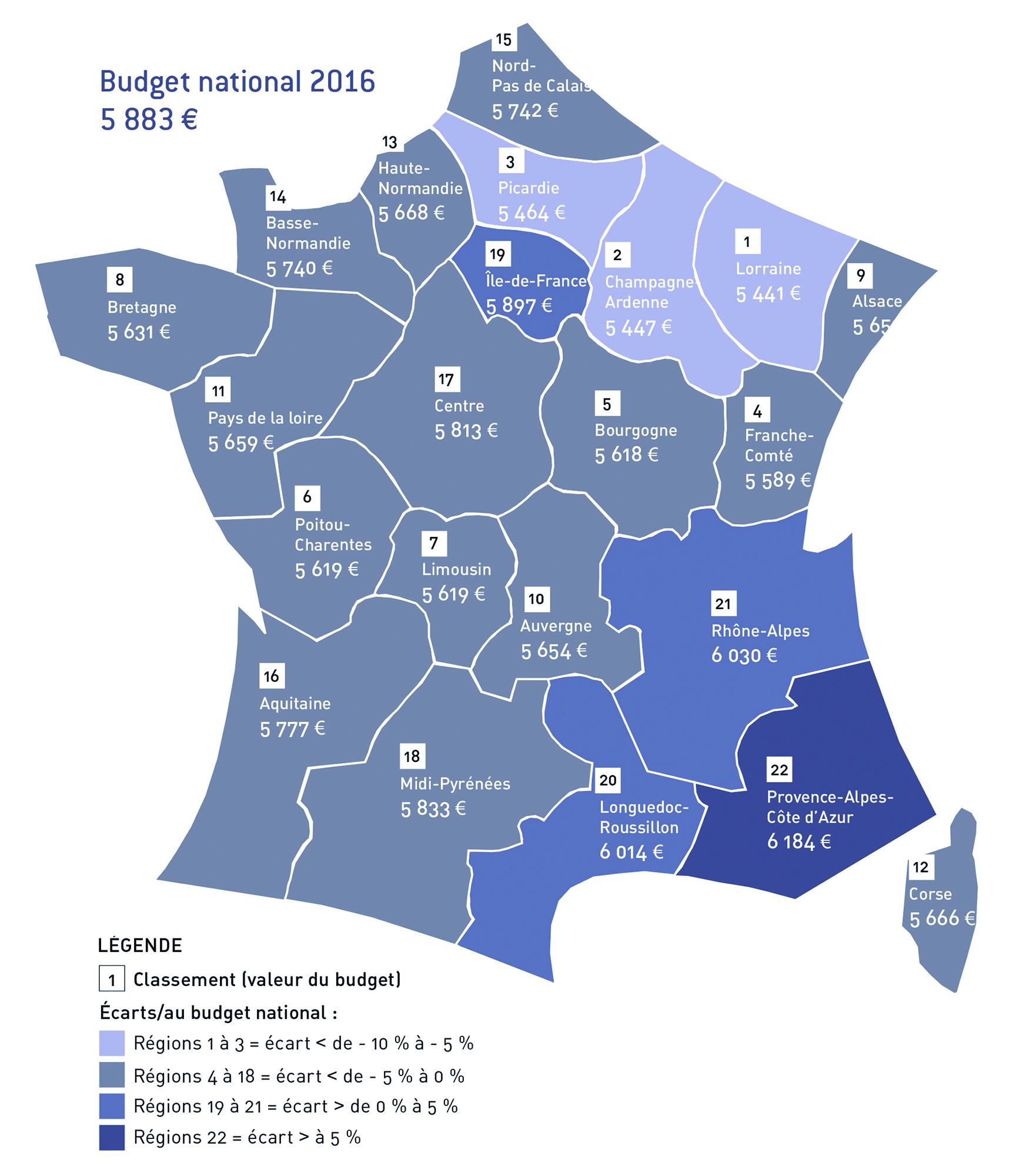 Carte de France Budget 2016 avec légende