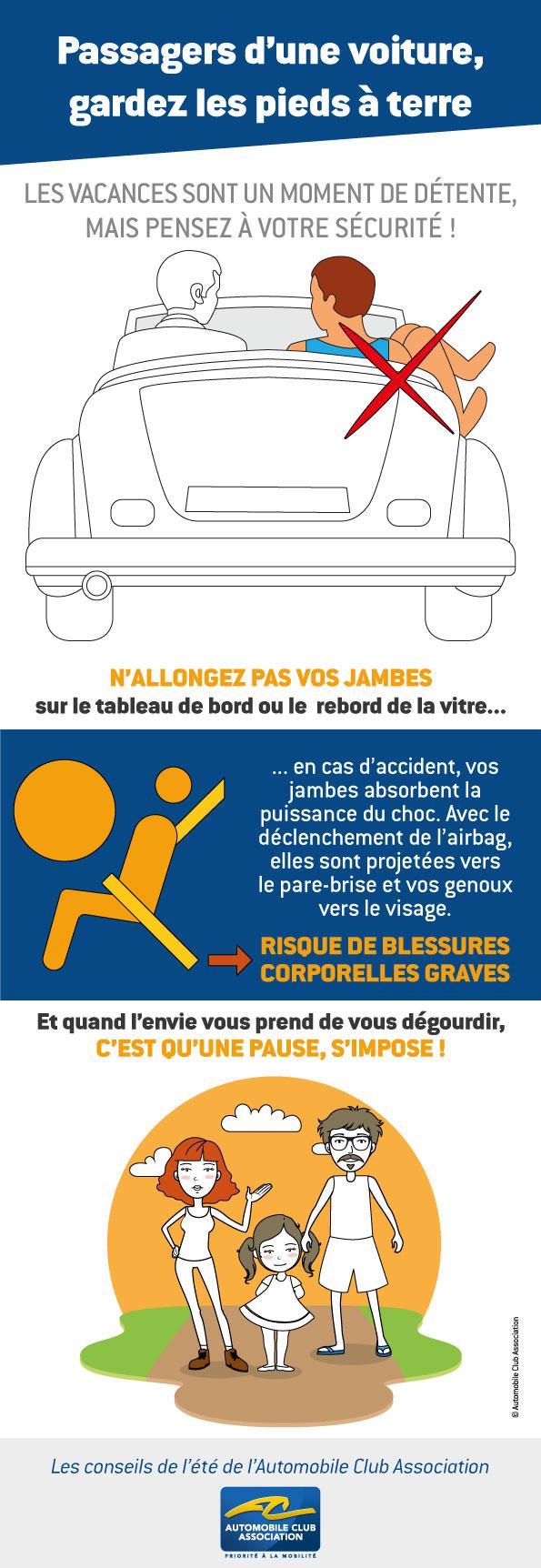 conseil 3 passagers, gardez les pieds à terre