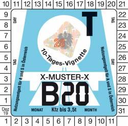 Vignette autrichienne auto 10 jours 2020