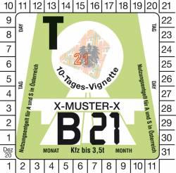 Vignette autrichienne auto 10 jours 2021