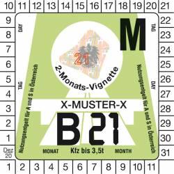 Vignette autrichienne auto 2 mois 2021