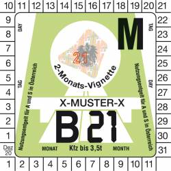 Vignette numérique autrichienne auto 2 mois 2021